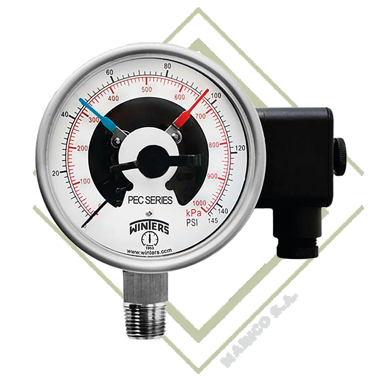 Manómetro PEC  de Acero Inoxidable con contactos Eléctricos